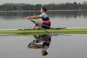 Annie Vernon rowing in Varese