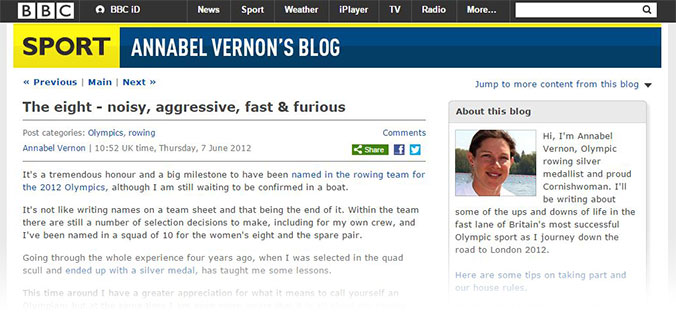 BBC Blog Annie Vernon Freelance Rowing Sports Writing